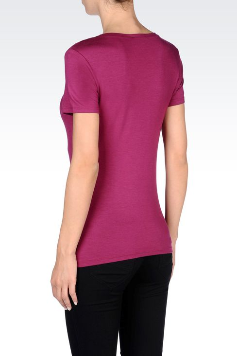 T-SHIRT IN MODAL WITH BEADS: Short-sleeve t-shirts Women by Armani - 4