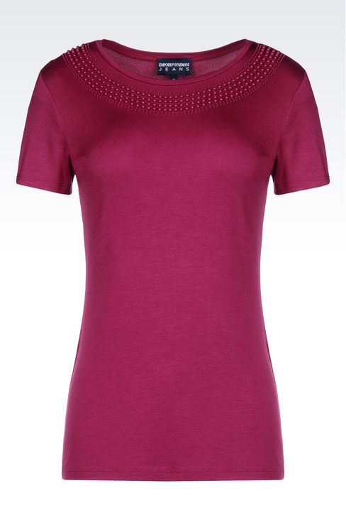 T-SHIRT IN MODAL WITH BEADS: Short-sleeve t-shirts Women by Armani - 1
