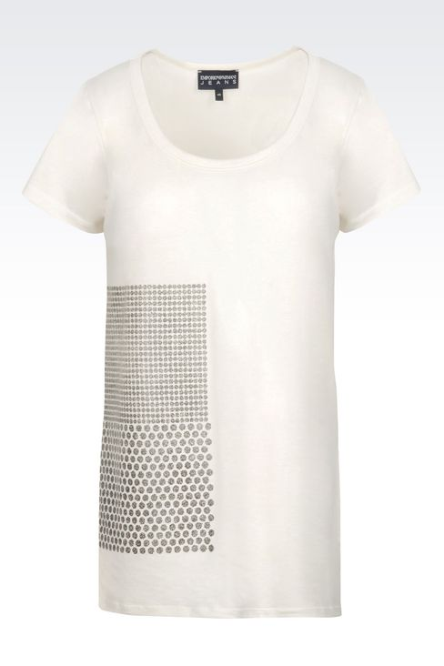 T-SHIRT IN PRINTED COTTON: Short-sleeve t-shirts Women by Armani - 1