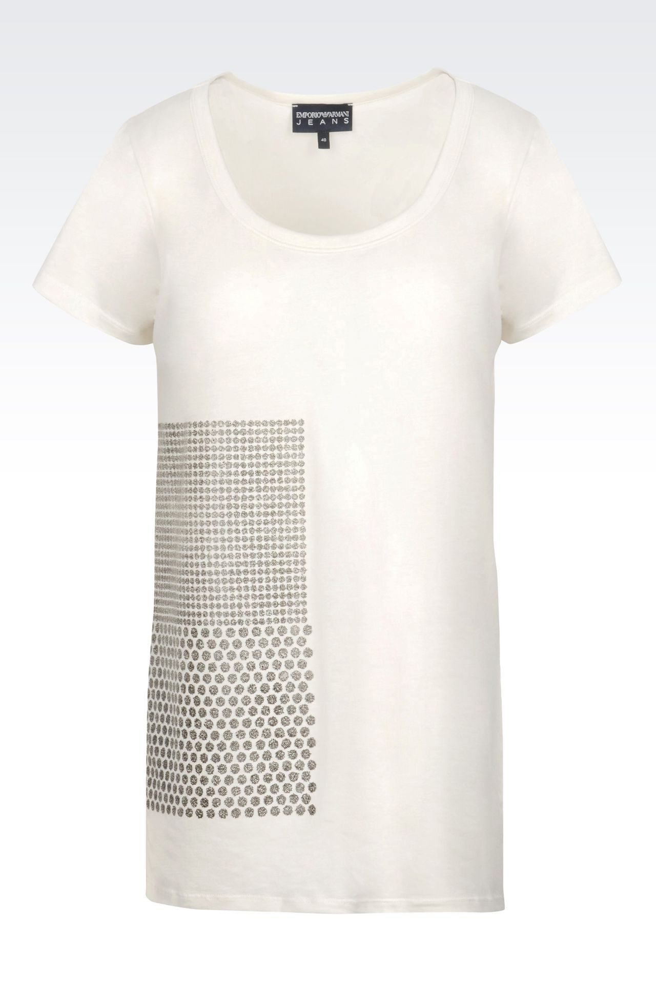 T-SHIRT IN PRINTED COTTON: Short-sleeve t-shirts Women by Armani - 0