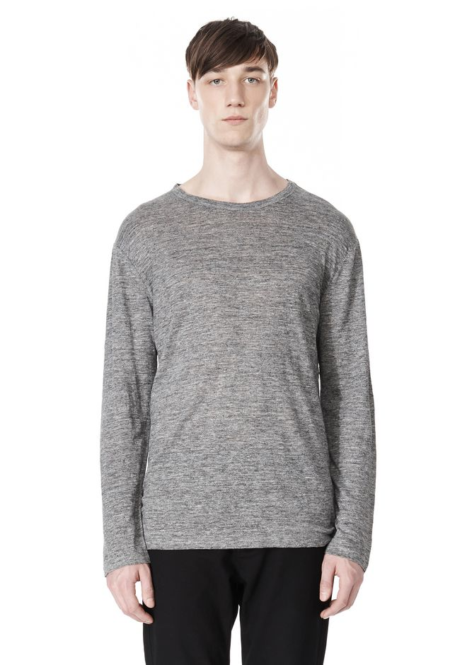 T by ALEXANDER WANG t-by-alexander-wang-sale HEATHER LINEN CREWNECK LONG SLEEVE TEE