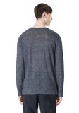 T by ALEXANDER WANG HEATHER LINEN CREWNECK LONG SLEEVE TEE TOP Adult 8_n_d