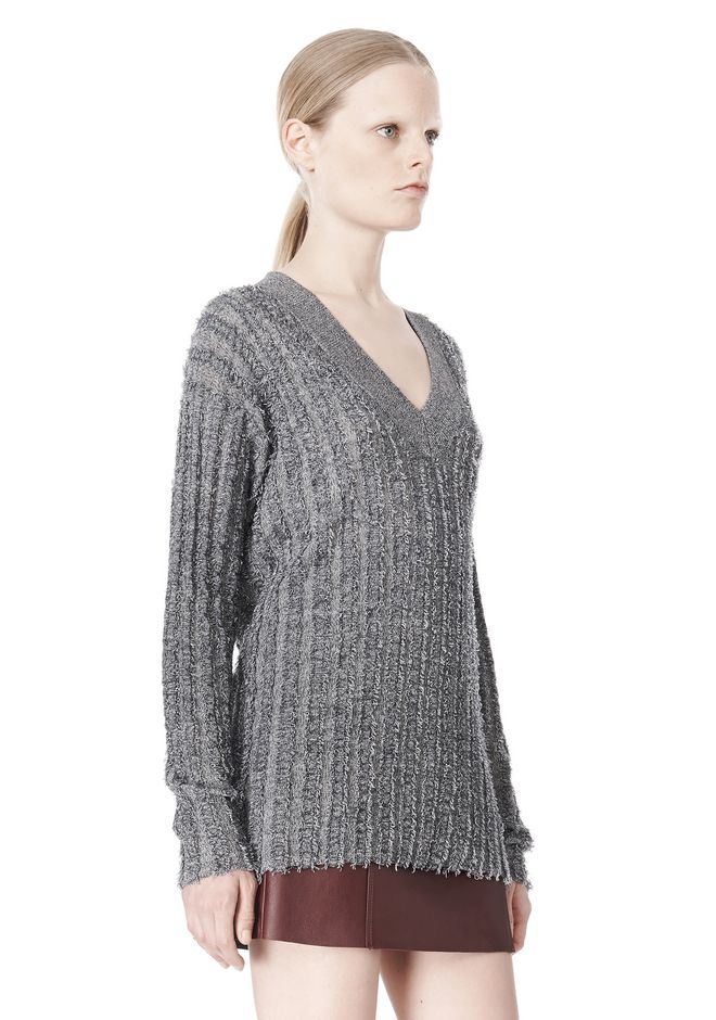 T by ALEXANDER WANG MERINO STRIPED V-NECK PULLOVER TOP Adult 12_n_a