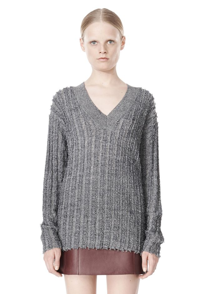 T by ALEXANDER WANG MERINO STRIPED V-NECK PULLOVER TOP Adult 12_n_e