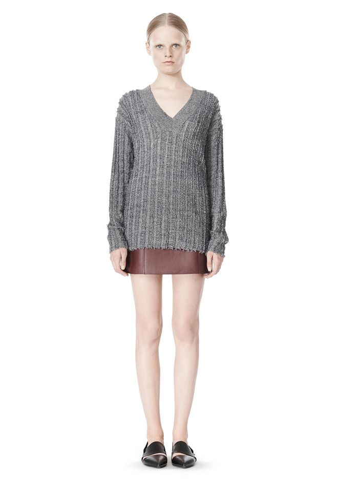 T by ALEXANDER WANG MERINO STRIPED V-NECK PULLOVER TOP Adult 12_n_f