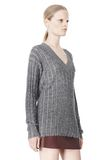 T by ALEXANDER WANG MERINO STRIPED V-NECK PULLOVER TOP Adult 8_n_a