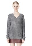 T by ALEXANDER WANG MERINO STRIPED V-NECK PULLOVER TOP Adult 8_n_e
