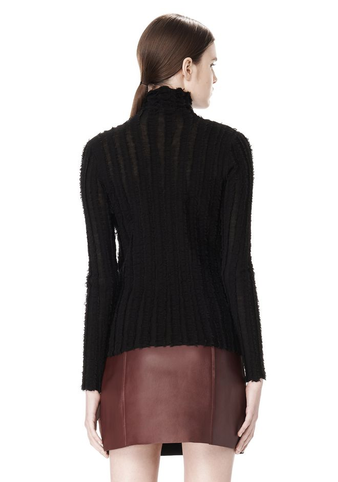 T by ALEXANDER WANG MERINO STRIPED TURTLENECK PULLOVER TOP Adult 12_n_d