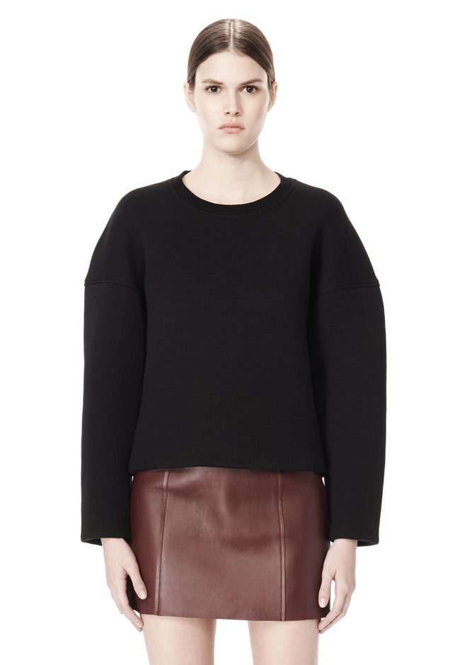 T by ALEXANDER WANG COTTON NEOPRENE CREWNECK SWEATSHIRT TOP Adult 12_n_e