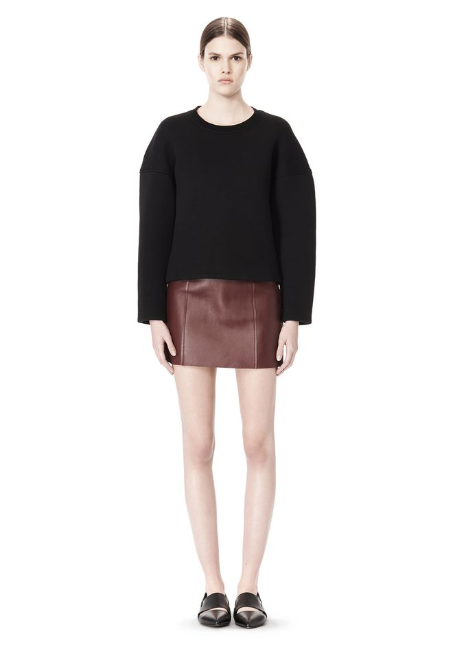 T by ALEXANDER WANG COTTON NEOPRENE CREWNECK SWEATSHIRT