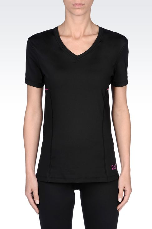 V-NECK COMPRESSION T-SHIRT IN TECHNICAL FABRIC: Short sleeved t-shirts Women by Armani - 3