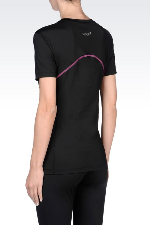 V-NECK COMPRESSION T-SHIRT IN TECHNICAL FABRIC: Short sleeved t-shirts Women by Armani - 4