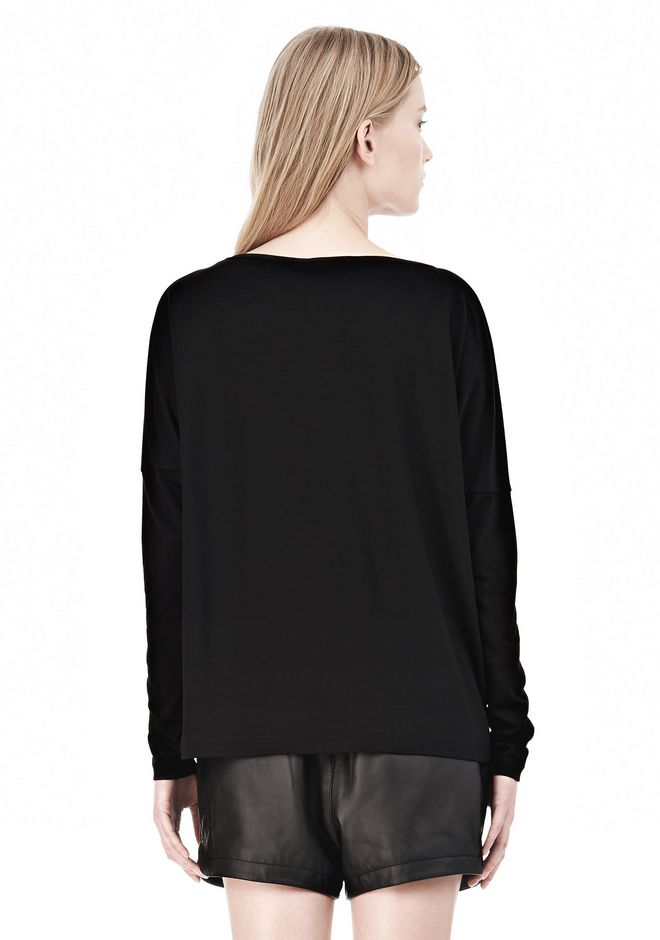 T by ALEXANDER WANG LUX PONTE DOLMAN CREWNECK LONG SLEEVE TEE Long sleeve t-shirt Adult 12_n_d