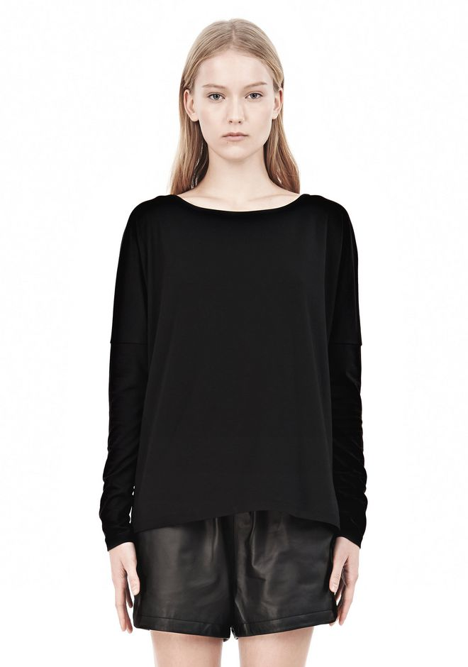 T by ALEXANDER WANG LUX PONTE DOLMAN CREWNECK LONG SLEEVE TEE Long sleeve t-shirt Adult 12_n_e