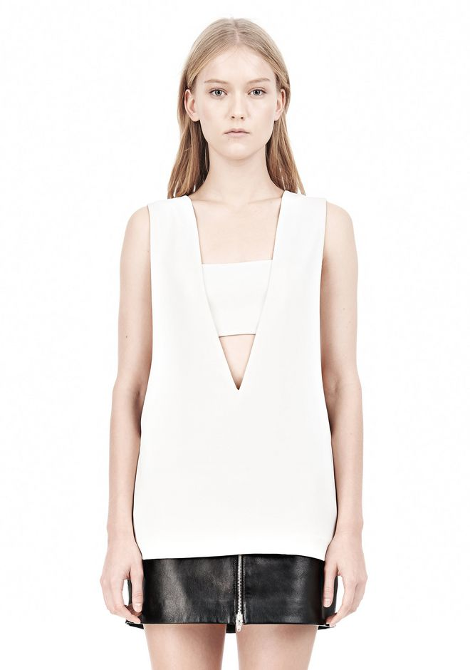 POLY CREPE LOW V-NECK TANK TOP WITH BANDEAU INSERT