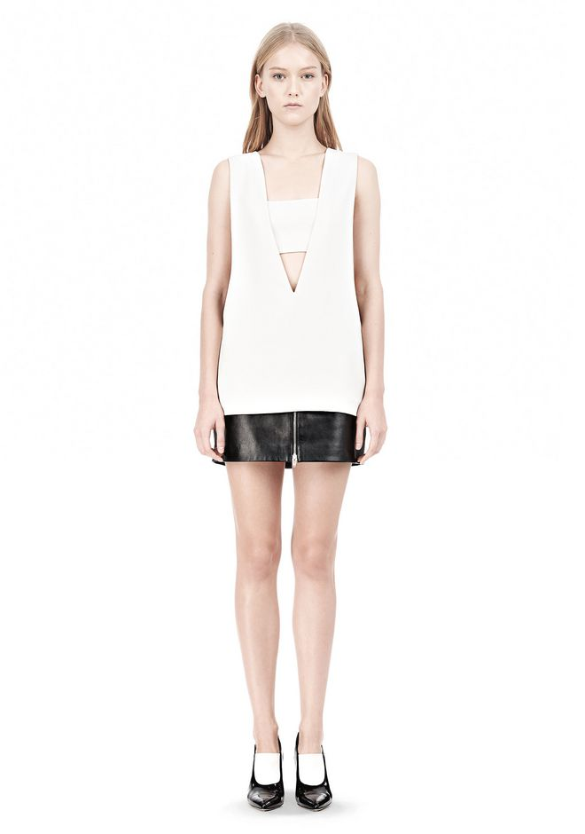 T by ALEXANDER WANG POLY CREPE LOW V-NECK TANK TOP WITH BANDEAU INSERT