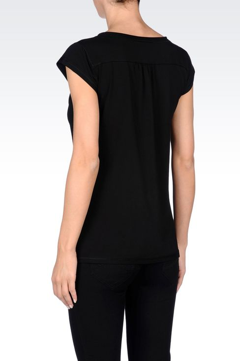 T-SHIRT IN STRETCH COTTON: Short-sleeve t-shirts Women by Armani - 4