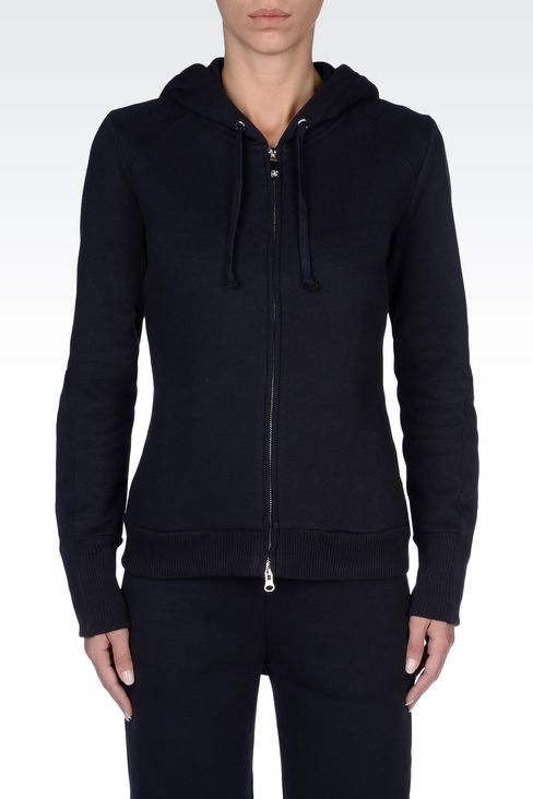 FULL ZIP HOODED SWEATSHIRT IN NAPPED COTTON: Sweatshirts Women by Armani - 3