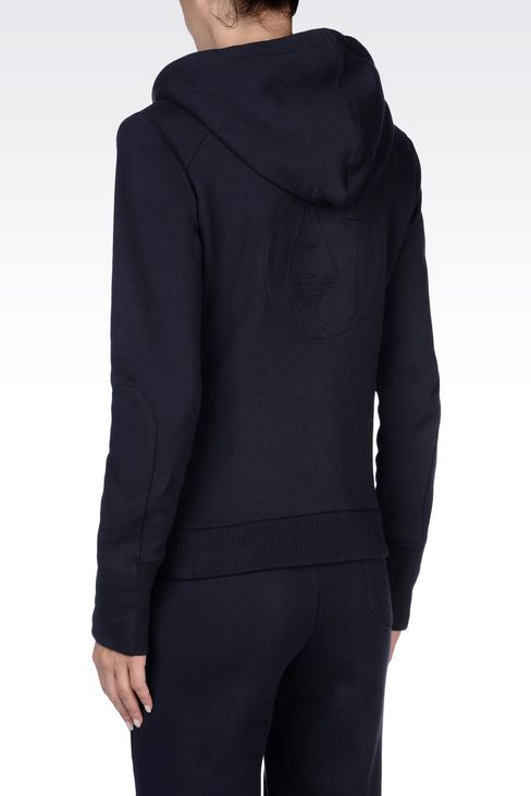 FULL ZIP HOODED SWEATSHIRT IN NAPPED COTTON: Sweatshirts Women by Armani - 4