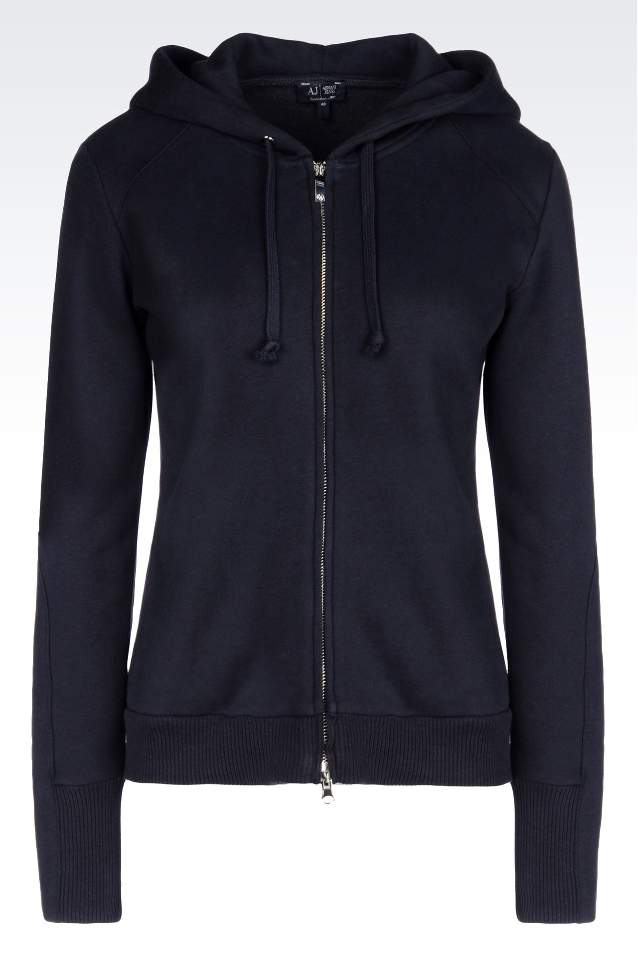 FULL ZIP HOODED SWEATSHIRT IN NAPPED COTTON: Sweatshirts Women by Armani - 0