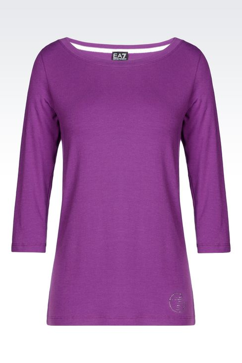 BOAT NECK T-SHIRT IN STRETCH COTTON: Short sleeved t-shirts Women by Armani - 1