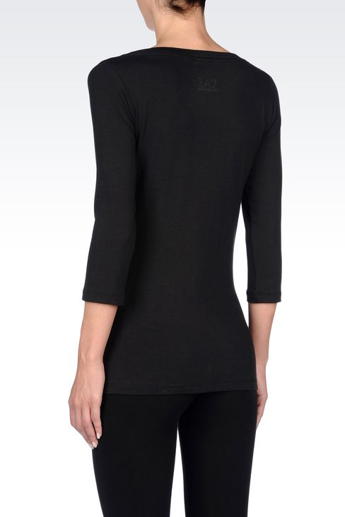 BOAT NECK T-SHIRT IN STRETCH COTTON: Short sleeved t-shirts Women by Armani - 4
