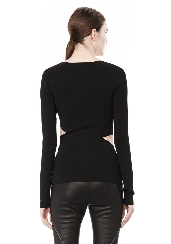 T by ALEXANDER WANG CRISS CROSS LONG SLEEVE TOP TOP Adult 12_n_d