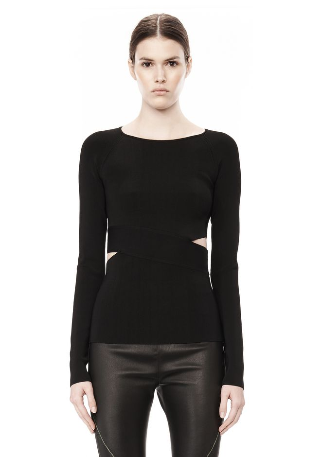 T by ALEXANDER WANG CRISS CROSS LONG SLEEVE TOP TOP Adult 12_n_e