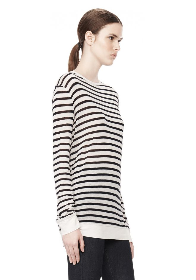 T by ALEXANDER WANG STRIPE RAYON LINEN LONG SLEEVE TEE TOP Adult 12_n_a
