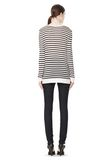 T by ALEXANDER WANG STRIPE RAYON LINEN LONG SLEEVE TEE TOP Adult 8_n_r