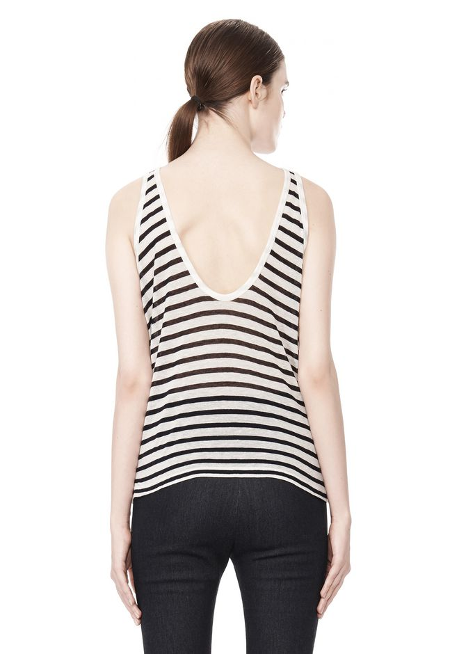 T by ALEXANDER WANG STRIPE RAYON LINEN TANK TOP Adult 12_n_d