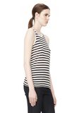T by ALEXANDER WANG STRIPE RAYON LINEN TANK TOP Adult 8_n_a