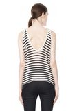 T by ALEXANDER WANG STRIPE RAYON LINEN TANK TOP Adult 8_n_d