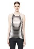 T by ALEXANDER WANG STRIPE RAYON LINEN TANK TOP Adult 8_n_e