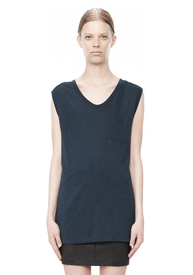 T by ALEXANDER WANG CLASSIC MUSCLE TEE WITH POCKET TOP Adult 12_n_e