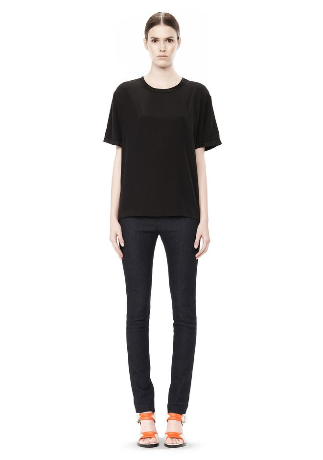 T by ALEXANDER WANG WASHED SILK CHARMEUSE SHORT SLEEVE TEE