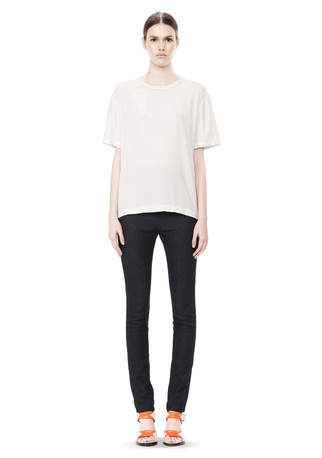 T by ALEXANDER WANG WASHED SILK CHARMEUSE SHORT SLEEVE TEE TOP Adult 12_n_f