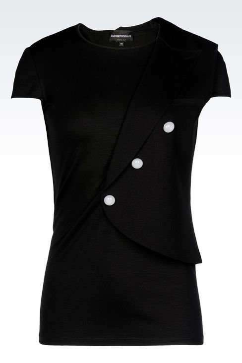 RUNWAY T-SHIRT IN JERSEY: Short-sleeve t-shirts Women by Armani - 1
