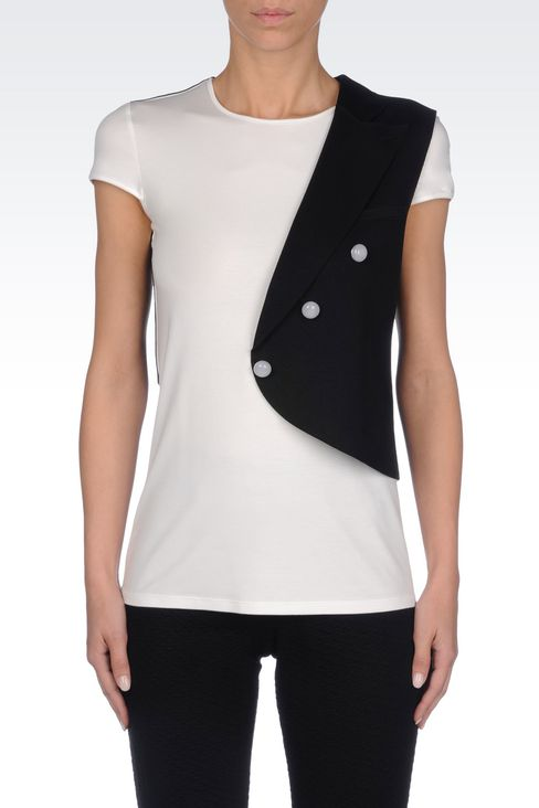 RUNWAY T-SHIRT IN JERSEY: Short-sleeve t-shirts Women by Armani - 3