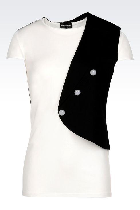 RUNWAY T-SHIRT IN JERSEY: Short-sleeve t-shirts Women by Armani - 1