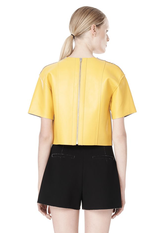T by ALEXANDER WANG RAW EDGE SHORT SLEEVE CROPPED LEATHER TOP TOP Adult 12_n_d