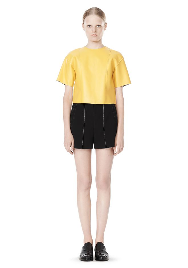 T by ALEXANDER WANG RAW EDGE SHORT SLEEVE CROPPED LEATHER TOP
