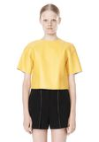 T by ALEXANDER WANG RAW EDGE SHORT SLEEVE CROPPED LEATHER TOP TOP Adult 8_n_e