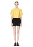 T by ALEXANDER WANG RAW EDGE SHORT SLEEVE CROPPED LEATHER TOP TOP Adult 8_n_f