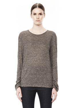 HEATHER LINEN LONG SLEEVE CREW NECK TEE
