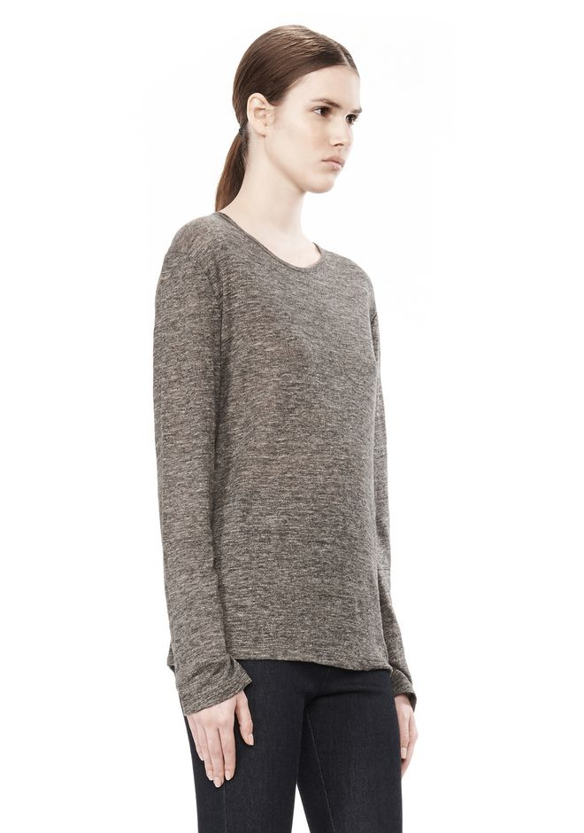T by ALEXANDER WANG HEATHER LINEN LONG SLEEVE CREW NECK TEE TOP Adult 12_n_a