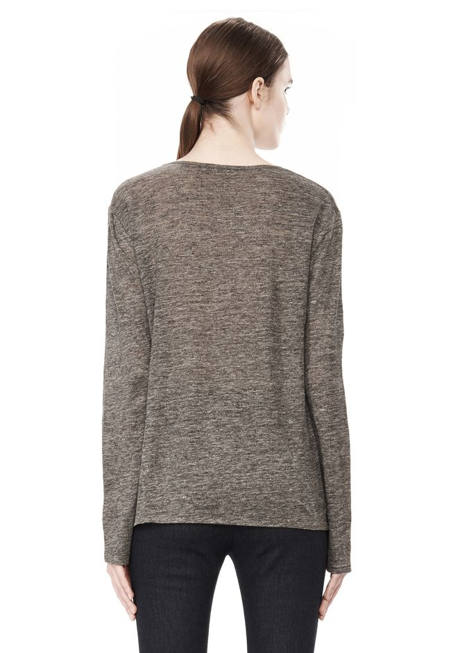T by ALEXANDER WANG HEATHER LINEN LONG SLEEVE CREW NECK TEE TOP Adult 12_n_d
