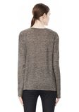 T by ALEXANDER WANG HEATHER LINEN LONG SLEEVE CREW NECK TEE TOP Adult 8_n_d