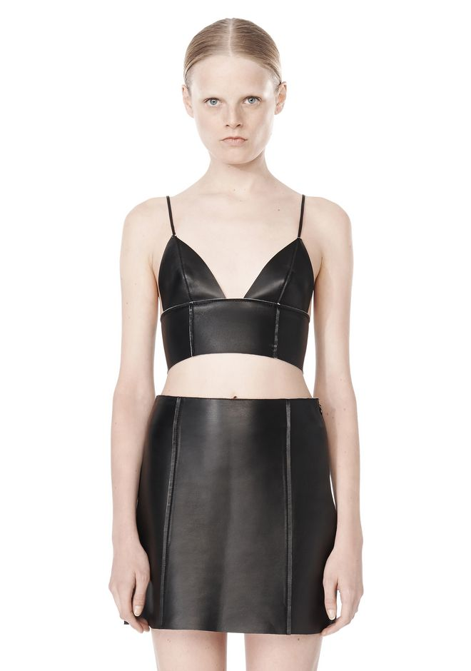 T by ALEXANDER WANG RAW EDGE TRIANGLE LEATHER BRALETTE Swimwear Adult 12_n_e