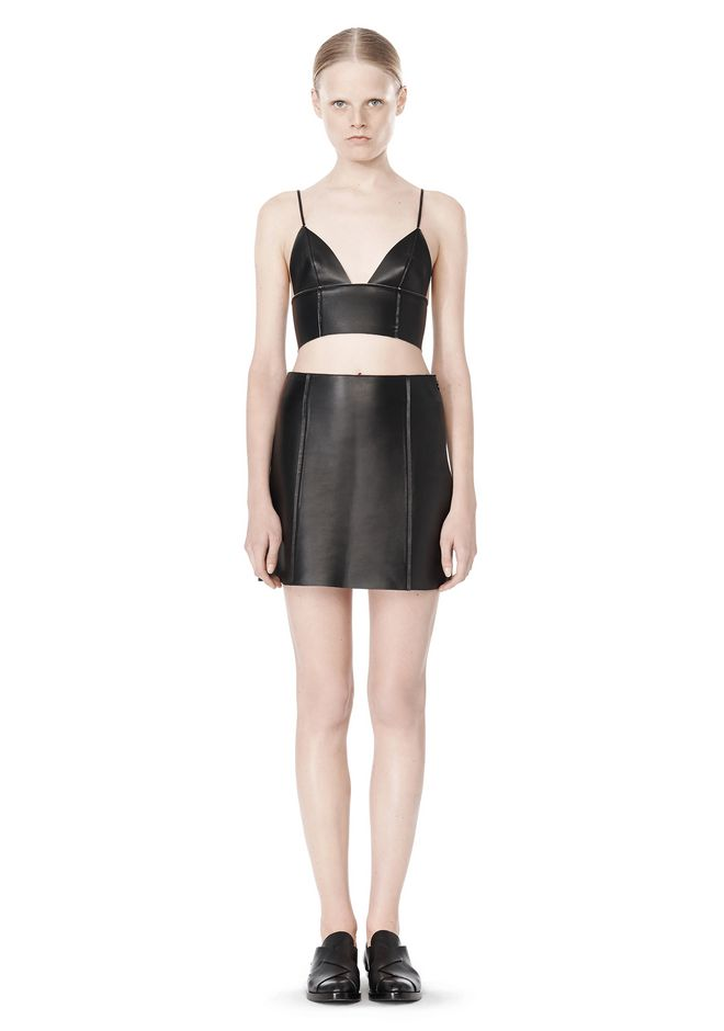 T by ALEXANDER WANG RAW EDGE TRIANGLE LEATHER BRALETTE